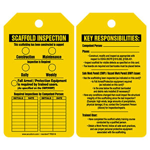Scaffold Inspection - Safety Tag