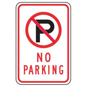No Parking Sign with Icon