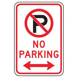 No Parking Sign with Icon & Arrow