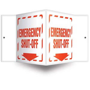 Emergency Shut-Off - 3D Projection Sign