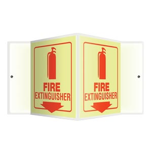 Fire Extinguisher Sign - 3D Projection, Glow In The Dark