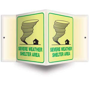Severe Weather Shelter Sign - 3D Projection, Glow In The Dark