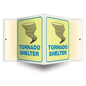 Tornado Shelter Sign - 3D Projection, Glow In The Dark