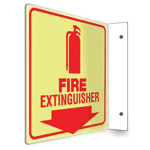 Fire Extinguisher Sign - Projection, Glow In The Dark