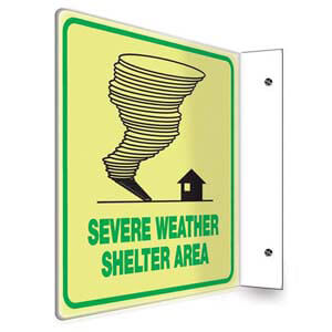 Severe Weather Shelter Sign - Projection, Glow In The Dark