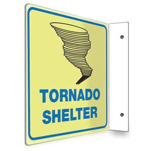 Tornado Shelter Sign - Projection, Glow In The Dark