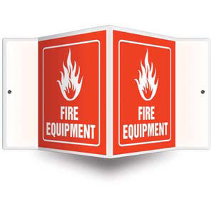 Fire Equipment Sign with Icon, Down Arrow - 3D Projection