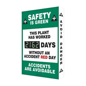 Safety Is Green, This Plant Has Worked - Digi-Day Electronic Scoreboard