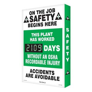 OSHA Recordable Injury - Digi-Day Electronic Scoreboard