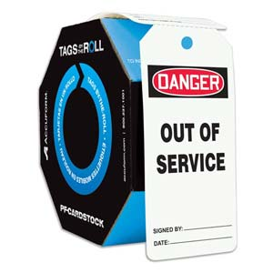 Danger: Out Of Service - OSHA Safety Tag: Tags By-The-Roll