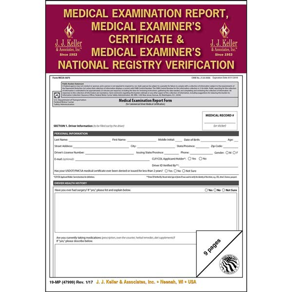 Medical Examination Report, Certificate, & National Registry Verification – Retail Packaging