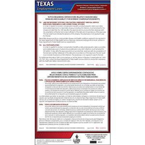 Texas Notice 9 Work-Related Communicable Diseases & Eligibility for Workers' Compensation Benefits Poster