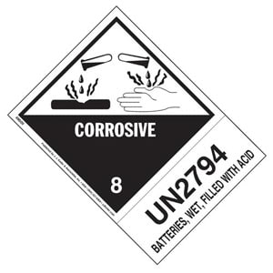 Numbered Panel Proper Shipping Name Label - Class 8, Corrosive – Batteries, Wet, Filled with Acid - UN 2794