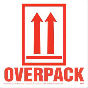 This End Up - Orientation Arrows/Overpack Package Marking - Paper, Red Ink, Roll of 500