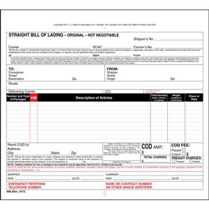 Straight Bill of Lading - Universal Form