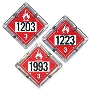 Aluminum Flip Placard - 3 Legend, Numbered, UN 1203, 1993, 1223