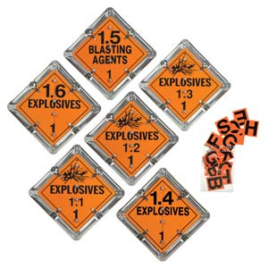 Standard Flip-File Placard, 6-Legend Worded Set, Unpainted Back Plate - Explosive