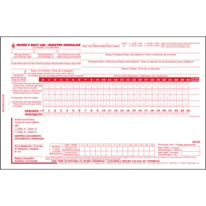 Quebec Driver's Daily Log Book, Bilingual, 2-Ply, w/Carbon, No Recap - Stock