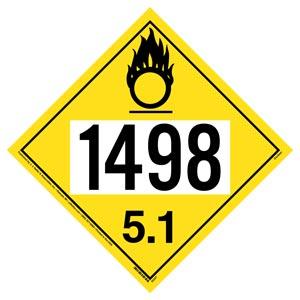 1498 Placard - Division 5.1 Oxidizer