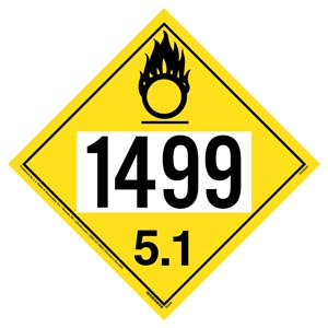 1499 Placard - Division 5.1 Oxidizer