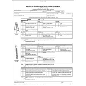 Periodic Portable Ladder Inspection Form, Snap-Out Format - Stock