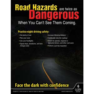 Road Hazards Are Dangerous - Driver Awareness Safety Poster