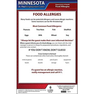 Minnesota / St. Paul Food Allergy In Restaurants Poster