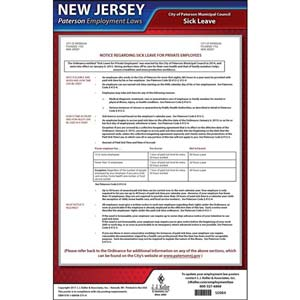 New Jersey / Paterson Paid Sick Leave Poster