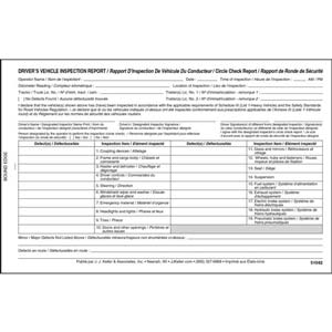 Quebec Driver's Vehicle Inspection Report, Bilingual, 2-Ply, Carbonless - Personalized