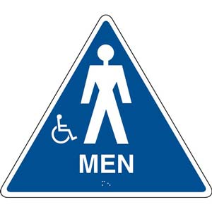 California Title 24 Handicap-Accessible Restroom Sign: Men