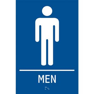 ADA Braille Tactile Men's Restroom Sign: Men