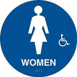 California Title 24 Handicap-Accessible Restroom Sign: Women