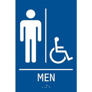 ADA Braille Tactile Men's Handicap-Accessible Restroom Sign: Men
