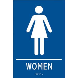 ADA Braille Tactile Women's Restroom Sign: Women