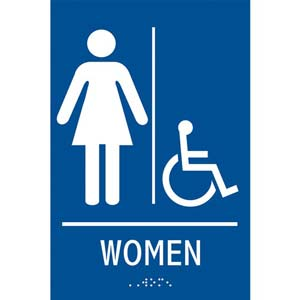 ADA Braille Tactile Women's Handicap-Accessible Restroom Sign: Women