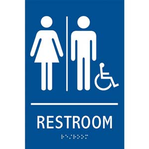 ADA Braille Tactile Gender-Neutral Handicap-Accessible Restroom Sign: Restroom