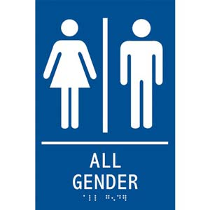 ADA Braille Tactile Gender-Neutral Restroom Sign: All Gender