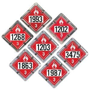 Standard Flip-File Placard, 7-Legend Numbered Set, Unpainted Back Plate