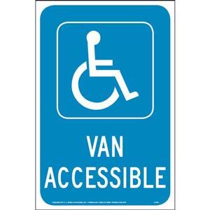 Handicap Van Accessible Parking Sign - Reflective Aluminum
