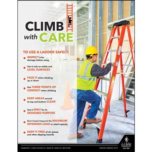 Climb With Care - Construction Safety Poster