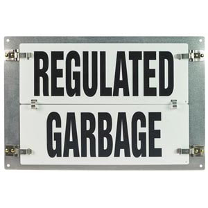 Flip-File Sign, Regulated Garbage, Medium, 1-Legend