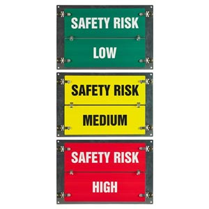 Flip-File Sign, Safety Risk Low/Medium/High, 3-Legend