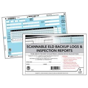 Scannable ELD Backup Log Book with Detailed DVIR, 2-Ply, with Recap - Stock