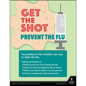 Get The Shot Prevent The Flu - Health & Wellness Awareness Poster