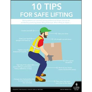 Ten Tips For Safe Lifting - Transportation Safety Poster