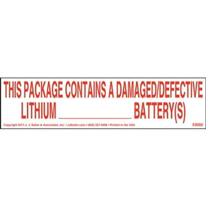 Damaged/Defective Lithium Battery Label