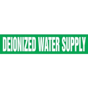 Deionized Water Supply Pipe Marker - ASME/ANSI