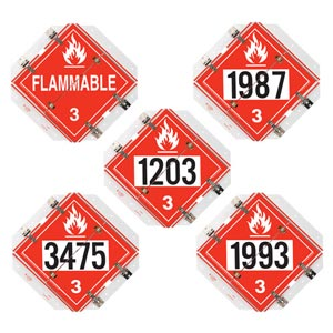 Super 16'x15.5' Flip-File Placard, 5-Legend Worded/Numbered Set, White Back Plate