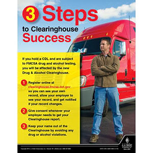 3 Steps to Clearinghouse Success - Motor Carrier Safety Poster