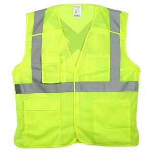 J. J. Keller™ SAFEGEAR™ Safety Vest Type R Class 2 - Hook & Loop 5-Point Breakaway Closure